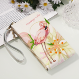 Flamingo Life Genuine Leather Wristlet - The Flamingo Shop