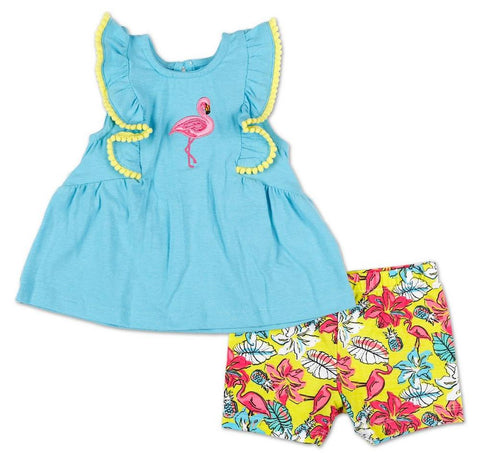 Girls 2 Pc Tropical Flamingo Top & Shorts Set