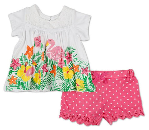 Girls Glitter Flamingo Top & Dots Shorts Set - Pink (12-24M) Color: Pink
