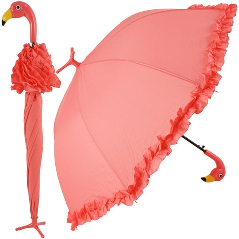 "Flamingo Handle Umbrella with Ruffles - Self Standing Design 38"" Span Pink - The Flamingo Shop"