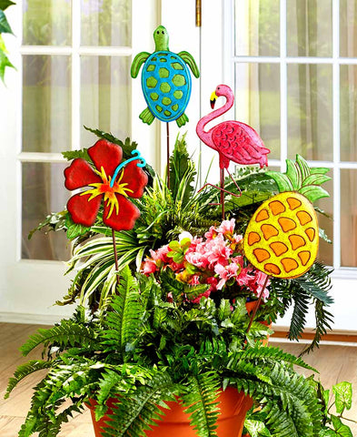 Tropical Themed Metal Garden Stakes - Set of Four - The Flamingo Shop