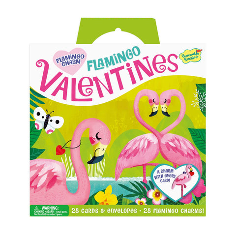 Flamingo Valentines - 28 Card Pack with Charms