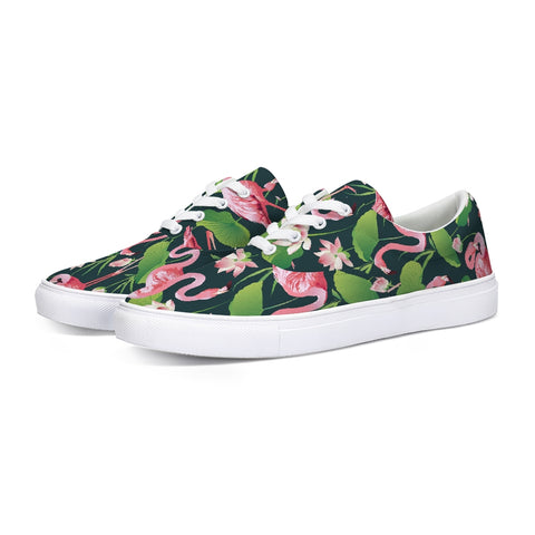 Pretty Flamingos Lace Up Canvas Shoes
