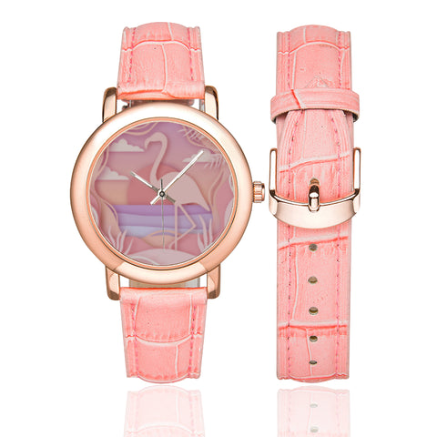 Women's Flamingo Sunset Rose Gold-plated Leather Strap Watch