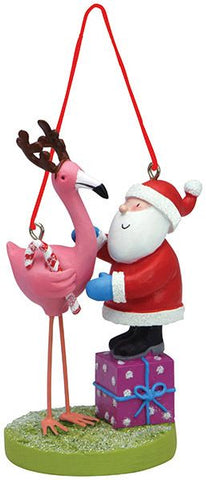 Cape Shore RESIN ORNAMENT SANTA W/FLAMINGO