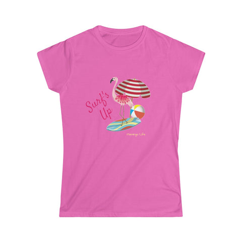 Flamingo Life Surf's Up Women's Softstyle Tee - The Flamingo Shop