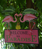 Pretty in Pink Flamingo Welcome to Paradise Sign - The Flamingo Shop