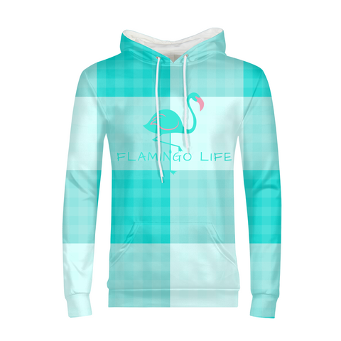 Flamingo Life Green Plaid Men's Hoodie - The Flamingo Shop