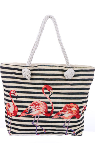 Striped Zippered Flamingo Tote Bag - The Flamingo Shop