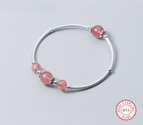 Pink Strawberry Quartz 925 Sterling Silver Bracelet - The Flamingo Shop
