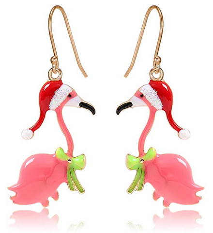 Christmas Santa Hat Flamingo Earrings