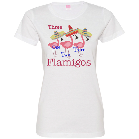 Add Custom Text - Three Names - Three Flamingos Womens T-Shirt - The Flamingo Shop