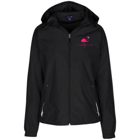 Flamingo Life Embroidered Ladies' Jersey-Lined Hooded Windbreaker - The Flamingo Shop