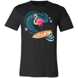 Surf's Up Flamingo Life Unisex Jersey Short-Sleeve T-Shirt in 12 Colors - The Flamingo Shop