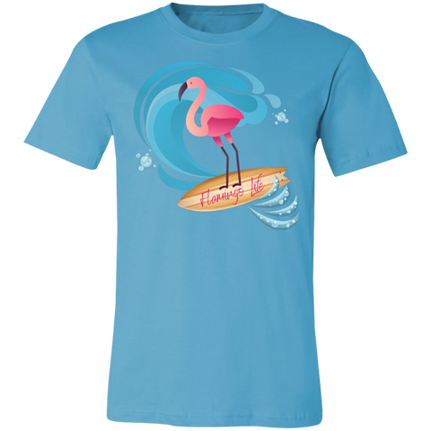 Surf's Up Flamingo Life Unisex Jersey Short-Sleeve T-Shirt in 12 Colors