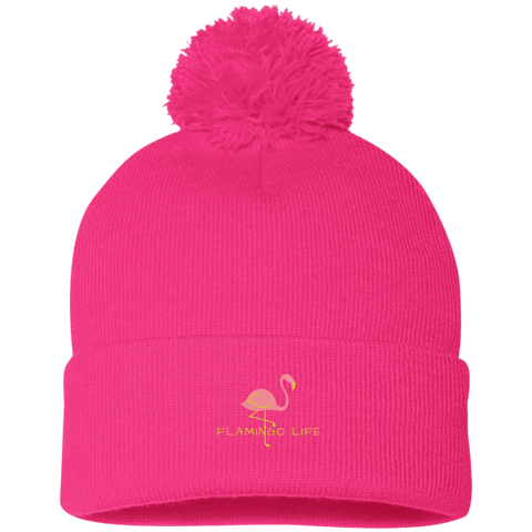 Flamingo Life POM POM Knit Cap - Pink or Black