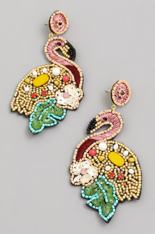 Beaded Flamingo Drop Earrings - The Flamingo Shop