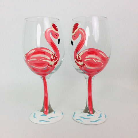 Hand Painted Flamingo Christmas Wine Glass