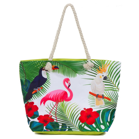 Large Beach Bag Tote, Water Resistant Canvas Tote, Tropical Birds - The Flamingo Shop