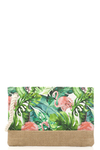 Flamingo Tropics Jute Zippered Bag - The Flamingo Shop