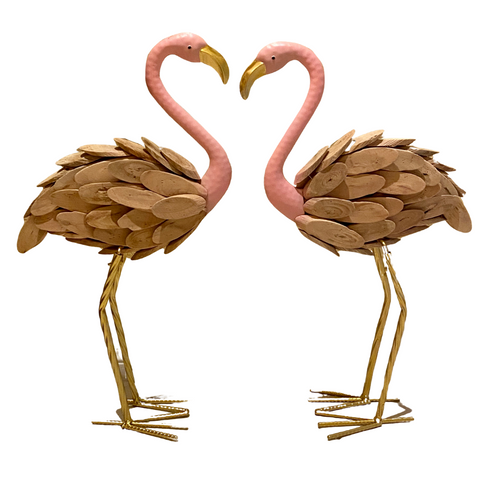 Wooden and Metal Flamingo Figure