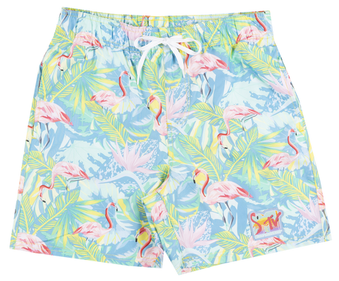 MTV MUSIC TELEVISION FLAMINGO SWIM TRUNKS BOARD SHORTS - The Flamingo Shop
