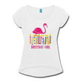 Birthday Girl Flamingo Rolled Cuff Womens Tee - Multiple Colors - The Flamingo Shop