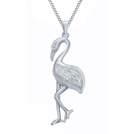 Natural Diamond Accent Flamingo Pendant Necklace in 14k White Gold Over Sterling Silver - The Flamingo Shop