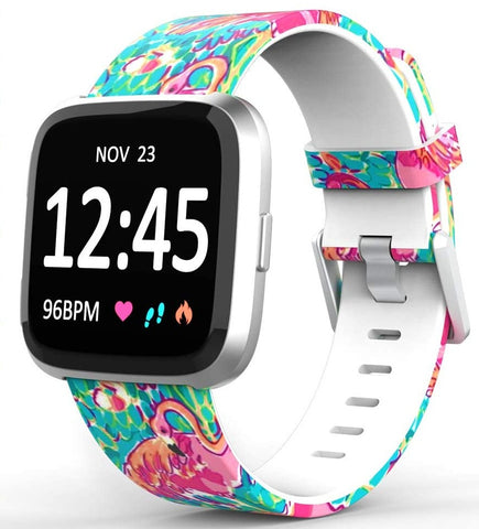 Flamingo Watercolor Replacement Bands for Fitbit Versa Lite SE Watch