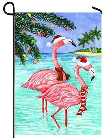 Tropical Christmas Flamingo Garden Flag