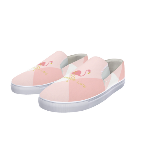 Flamingo Life Pink Plaid Slip-On Canvas Shoe Mens and Womens - The Flamingo Shop