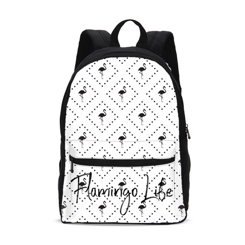 Flamingo Life Black and White Small Canvas Backpack - The Flamingo Shop