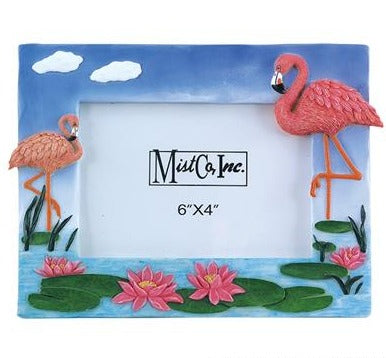 POLYRESIN FLAMINGO FRAME with STAND