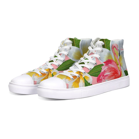 Flamingo Life Plumeria Hightop Canvas Shoes in Mens and Womens Sizes - The Flamingo Shop