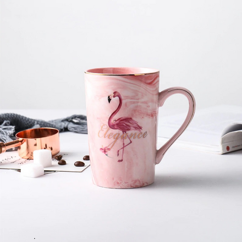 Flamingo Porcelain Gold Inlay Marble Mug
