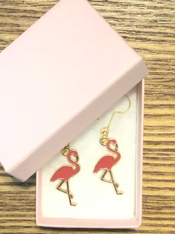 Enamel Flamingo Hook Earrings - The Flamingo Shop