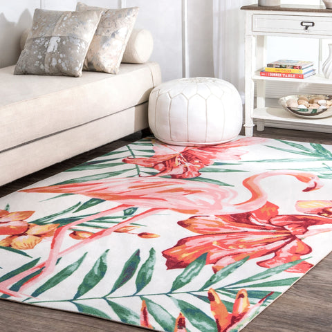 Indoor/Outdoor Contemporary Tropical Magestic Palm Tree Flamingo Print Area Rug - 5' x 8' - The Flamingo Shop