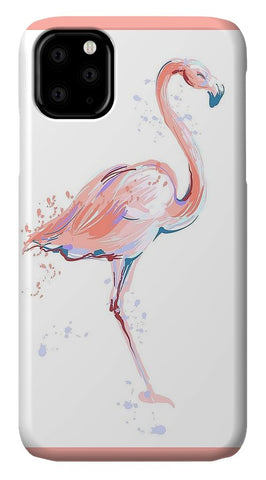 Pink Flamingo Water Sketch - iPhone Cases
