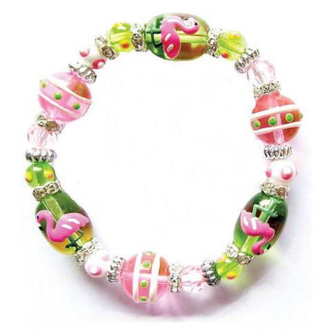 Flamingo Rhinestone Glass Beaded Bracelet - The Flamingo Shop