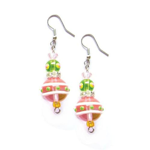 Tropical Rhinestone Glass Beaded Earrings - The Flamingo Shop