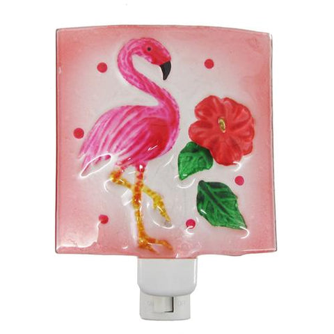 Pink Flamingo with Hibiscus Flower Night Light Painted Glass Electric - The Flamingo Shop