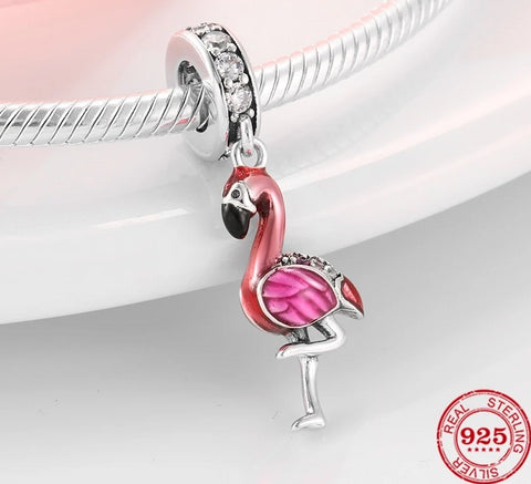 925 Sterling Silver and Enamel Flamingo Charm - The Flamingo Shop