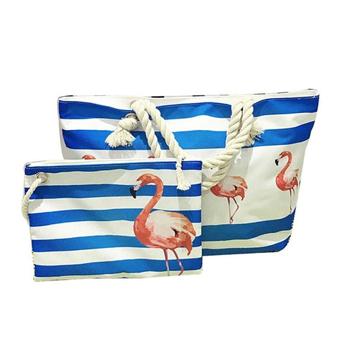 2-Pc. Flamingo Rope Handle Beach Tote Set (in Blue or Pink) - The Flamingo Shop