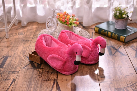 Flamingo Pink Plush Warm and Cozy Slippers