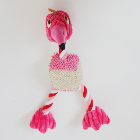 Flamingo Shaped Plush Dog Toy for Small Dogs - The Flamingo Shop