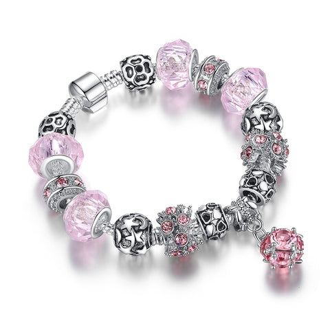925 Silver Crystal Charm Bracelet - The Flamingo Shop