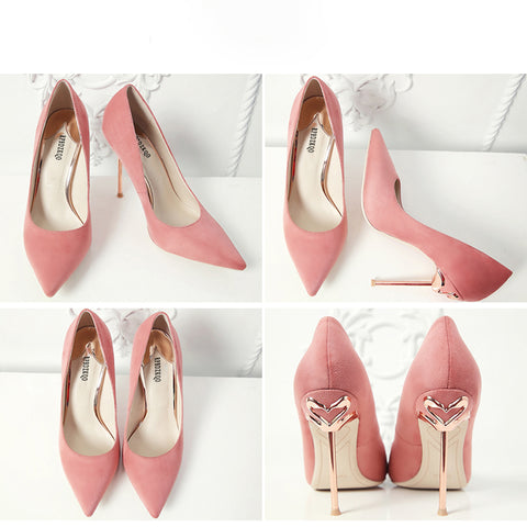 Flamingo Metal Stiletto Heels Pointed Toe Luxury Shoes - The Flamingo Shop