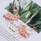 Handmade Earrings Gold Color Pink Flamingo Tassel - The Flamingo Shop