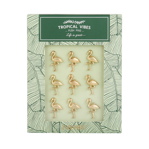 Gold Tone Push Pins Thumb Tacks for Message Cork Board 9pcs - The Flamingo Shop