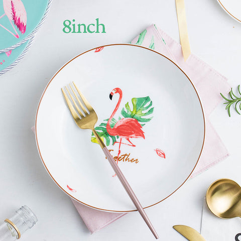 Pink Flamingo Porcelain Dinner Plate Hand Painted